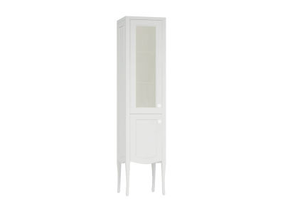 Elegance Tall Unit with Glass Door, Matte White, Left