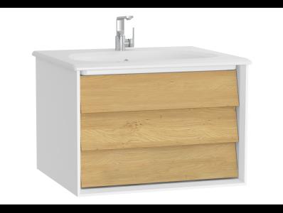 Frame Washbasin Unit, 60 cm, with 1 drawer, with White washbasin, Matte White