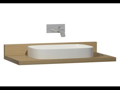 Memoria Black Counter, 100 cm, Patterned Oak, Washbasin White High Gloss