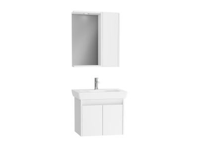 Step Flatpack Set, 65 cm, with doors, (Washbasin Unit, Mirror with Side Cabinet), White High Gloss
