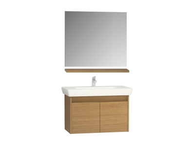 Step Flatpack Set, 85 cm, with doors, (washbasin unit, mirror, shelf), White High Gloss