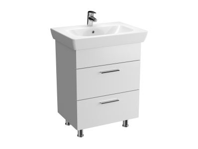 Vision Washbasin Unit, 65 cm, with 2 drawers, White High Gloss